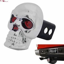 """BULLY 2"""" & 1.25"""" TRAILER TOWING SKULL HITCH RECEIVER COVER WITH BRAKE LIGHT"""