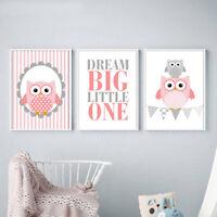 Owl Cartoon Painting Wall Art Canvas Poster Nursery Print Baby Girls Room Decor