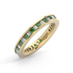 1.25ct Baguette Diamond & Round Emerald Eternity Ring in 9K Yellow Gold