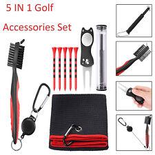 5 in 1 Golf Accessories Set Brush Cleaner Divot Repair Tool & Golf Tees Towel