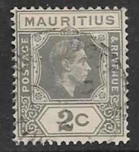 MAURITIUS POSTAL ISSUE - KGV1 USED DEFINITIVE 1938 2c GREY