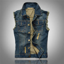 New Mens Causal Jacket Denim Vest Jean Coat Cool Collar Sleeveless Shirt Biker