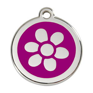 Red Dingo Dog Cat Pet ID Tag Charm FREE Personalized Engraving FLOWER