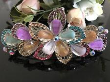 Silver tone multicolor rhinestone crystal flower hair clip barrette 16