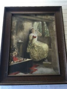 """""""A Cosy Corner"""" by Francis Davis Millet (1846-1912) Colored Print, Framed"""