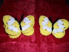 Crochet Spring Yellow-White Butterfly Refrigerator Magnet Handmade Free Shipping