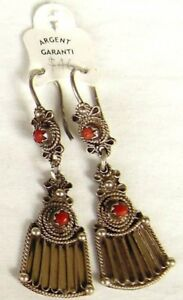 Kabyle silver and red coral earrings from Algeria style 1