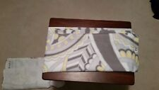 Sunlit Designer Elegant White Shower Curtain with Gray and Yellow Paisley Accent