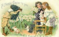 Artist impression C-1910 Happy Easter Girls with Bunnies #100 Tuck Postcard 6139
