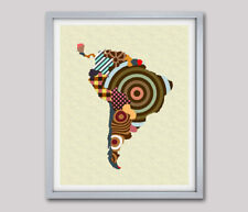 Latin America Map Art Print Travel Poster Abstract Cubist Painting Wall Decor