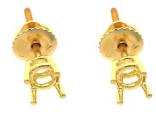 4 Prong Screw Back Basket Stud Earring Mounting 14K Yellow Gold For 0.30Ct Total