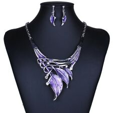 Jewelry Sets Purple Enamel Jewelry statement Necklace And Earring Set For Women