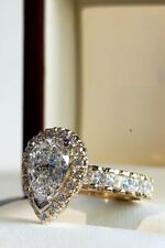 2.00 Ct Pear Cut Solitaire Diamond Engagement Wedding Ring 14k Yellow Gold Over