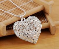 """925 Sterling Silver Women's Elegant Heart With Snake Necklace 18"""" 20"""" 24"""" D539"""