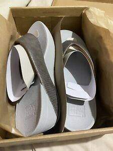 Fitflop Swoop Shimmy Snake Pewter toe-thong  Size Uk 8