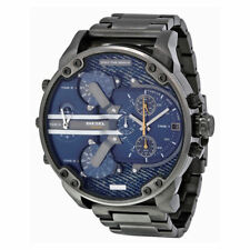 Diesel Daddy 2.0 Gunmetal Blue Denim Chrono Mens Watch DZ7331