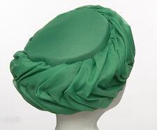 VINTAGE 1960'S Emerald Grass Green Chiffon Turban Hat Burlesque