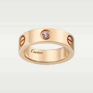 18ct Rose Gold Cartier Love Ring with 1 Pink Sapphire, Size 56