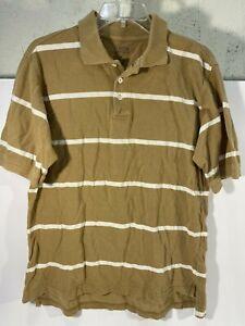 Austin Clothing Co Short Sleeve Polo Shirt Sz M Brown White Striped 100% Cotton