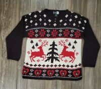 Beldoch Popper Ugly Holiday Christmas Party Sweater XL Tree Reindeer Snowflake