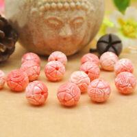 20Pcs 8mm Pink Shell Carved Round Lotus Flower Loose Beads Gemstone DIY