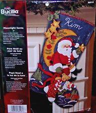 """Bucilla """"MOONLIGHT SANTA"""" Felt Christmas Stocking Kit OOP FACTORY DIRECT 18"""""""