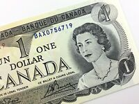 1973 Canada 1 One Dollar Uncirculated BAX Replacement Crow Bouey Banknote R387