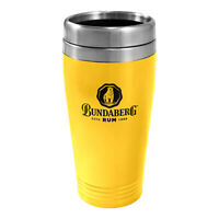 Bundaberg Rum Thermal Coffee Travel Mug - 450ml Drink Cup Double Wall - Yellow