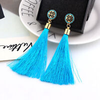 1 Pair Elegant Bohemian Crystal Long Tassel Drop Earrings