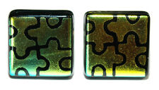 BEAUTIFUL GREEN YELLOW PUZZLE FUSED GLASS CUFF LINKS (216)