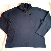 ORVIS Trout Bum Men's Medium Wool Blend Quarter Zip Dark Blue Jacket Sweater