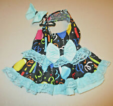 XS female Dog dress [birthday blue] cotton handmade