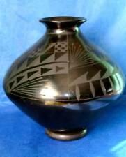 Mata Ortiz Black Olla Mexican Art Pottery Vase Signed Cesar Camacho