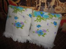 VINTAGE CONE MILLS BLUE GREEN PURPLE FLOWERS FLORAL (PAIR) BATH TOWELS 22 X 36