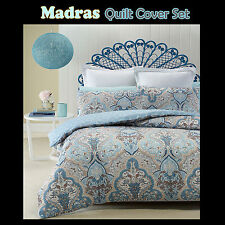 Brand New MADRAS Soft Lightly Quilted Reversible DOUBLE Quilt/Doona Cover Set