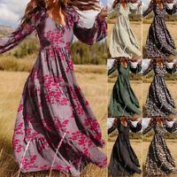 UK Women Full Sleeve V Neck Floarl Maxi Dress Evening Swing Party Dresses Plus