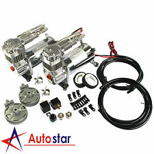 12V Dual Chrome 440C 200 PSI Air Compressor Kit For Train Horns Bag Suspension