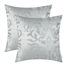 2Pcs Silver Gray Jacquard Floral Cushion Covers Pillows Shell Home Decor 45x45cm