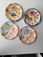 Italy Scalloped Floral Salad Dessert Plates Set Of 4