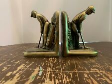 Vintage Golfer Figural Cast Metal with Brass Patina Finish Bookends