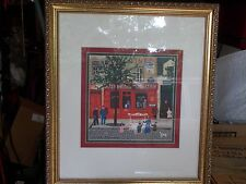 Michel Delacroix Cafe Tabac Stone signed lithograph-Framed