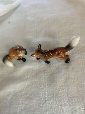 Miniature Bone China Foxes: Mama Sitting, Dad StandingUnusual White-tipped Tails