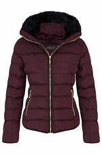 Womens Hood Quilted Winter Zip Outerwear Concealed Jacket Drawstring Fur Padded Wine 10