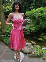 Abendkleid Gr. 38 Gr. 40 rot himbeer pink glänzend Seide Pailletten erotisch