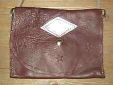 Vintage 1970s Leather Hand Tooled Hippy Clutch Bag Purse Attachable Strap