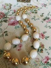 Fabulous Vintage 80's Napier Necklace Luxe Gold Bead Shimmered Lucite Necklace