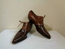 Via Spiga Brown Smooth & Croc Embossed Leather Lace Up Pointed Toe Loafers 6B