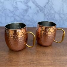 Set Of 2 Hammered Copper Moscow Mule Mugs Cups - Godinger