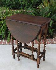 Antique English Tiger Oak Drop Leaf OVAL Gate Leg Table BARLEY TWIST Petite