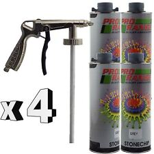 Pro Range 4 x 1 Litre Grey Stone Chip + Spray Gun Can be over Painted Paintable